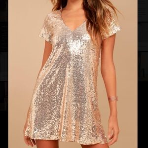 Lulus Champagne Sequin Shift Dress